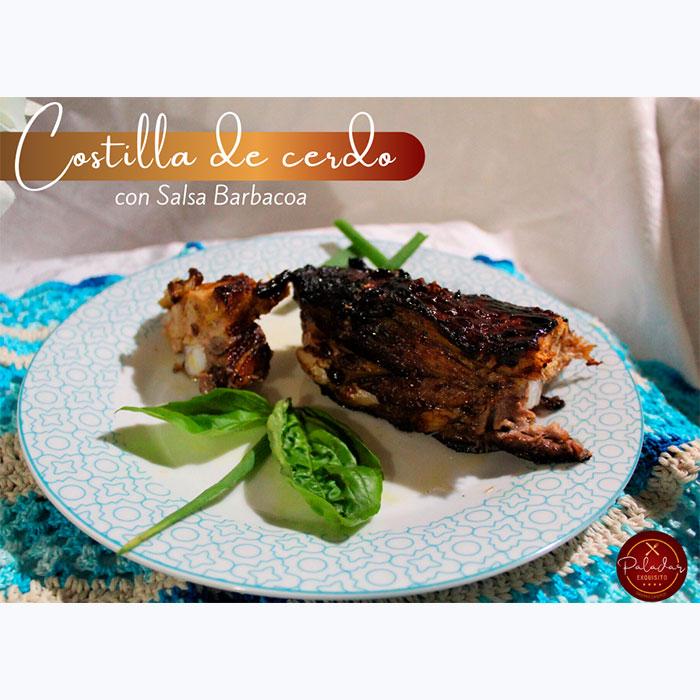 Costilla de Cerdo con salsa Barbacoa.